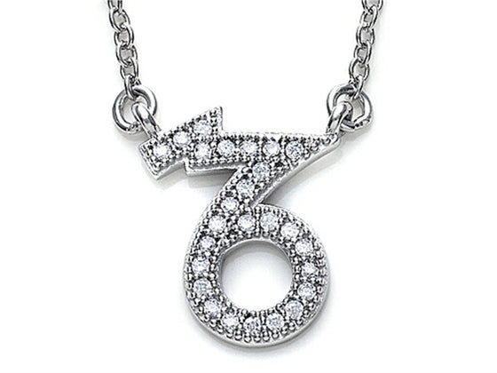 Zoe R Sterling Silver Micro Pave Hand Set Cubic Zirconia (CZ) Capricorn Zodiac Pendant Necklace On 18 Inch Adjustable C