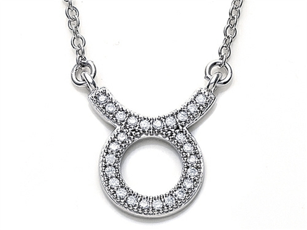 Zoe R Sterling Silver Micro Pave Hand Set Cubic Zirconia (CZ) Taurus Zodiac Pendant Necklace On 18 Inch Adjustable Chai