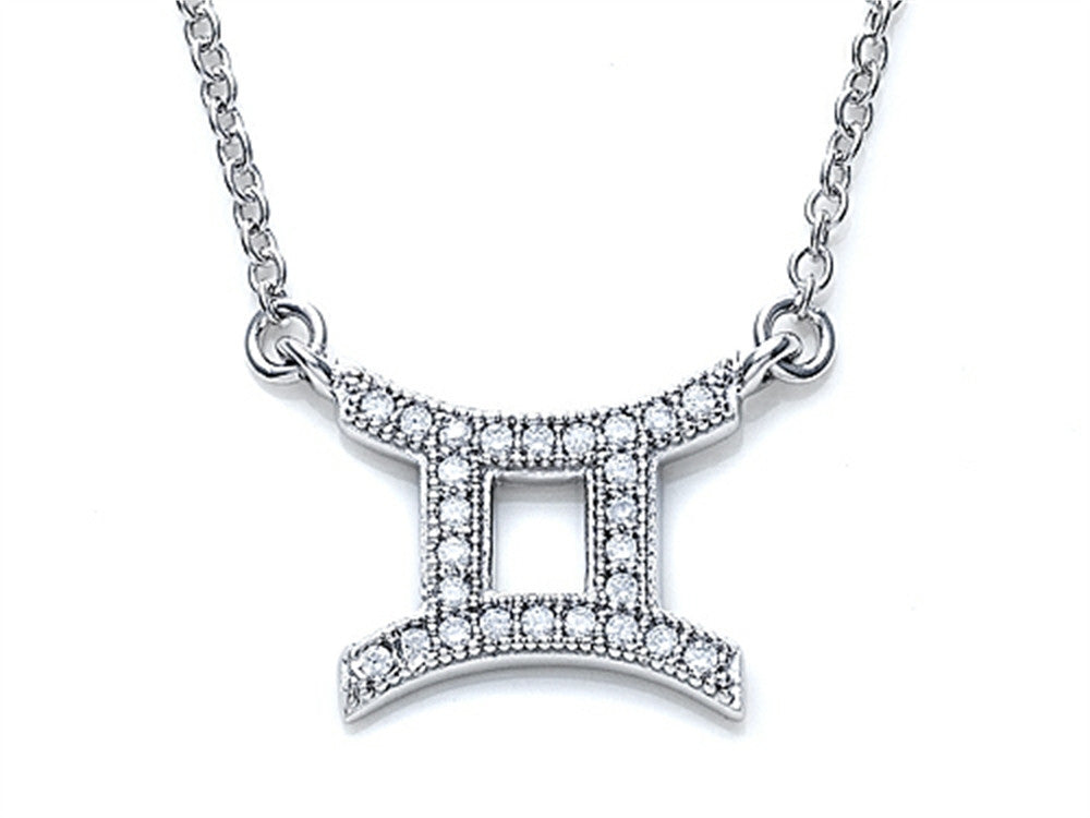Zoe R Sterling Silver Micro Pave Hand Set Cubic Zirconia (CZ) Gemini Zodiac Pendant Necklace On 18 Inch Adjustable Chai
