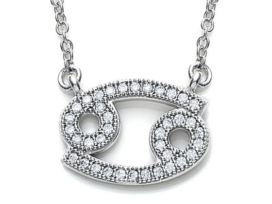 Zoe R Sterling Silver Micro Pave Hand Set Cubic Zirconia (CZ) Cancer Zodiac Pendant Necklace On 18 Inch Adjustable Chai