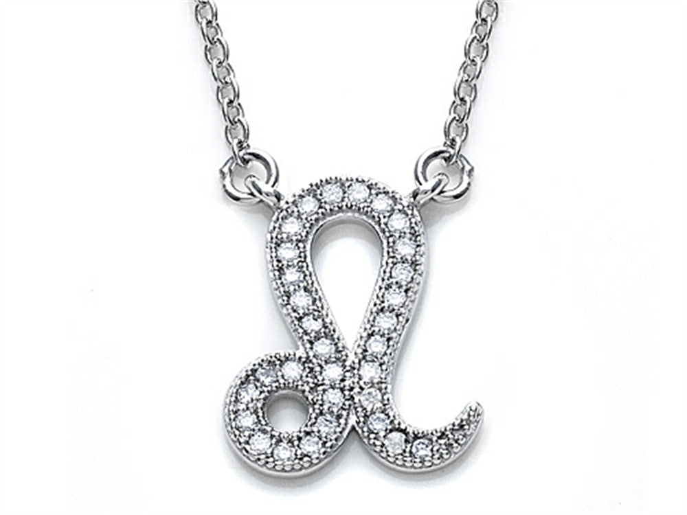 Zoe R Sterling Silver Micro Pave Hand Set Cubic Zirconia (CZ) Leo Zodiac Pendant Necklace On 18 Inch Adjustable Chain