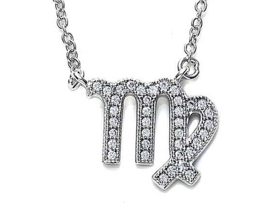 Zoe R Sterling Silver Micro Pave Hand Set Cubic Zirconia (CZ) Virgo Zodiac Pendant Necklace On 18 Inch Adjustable Chain