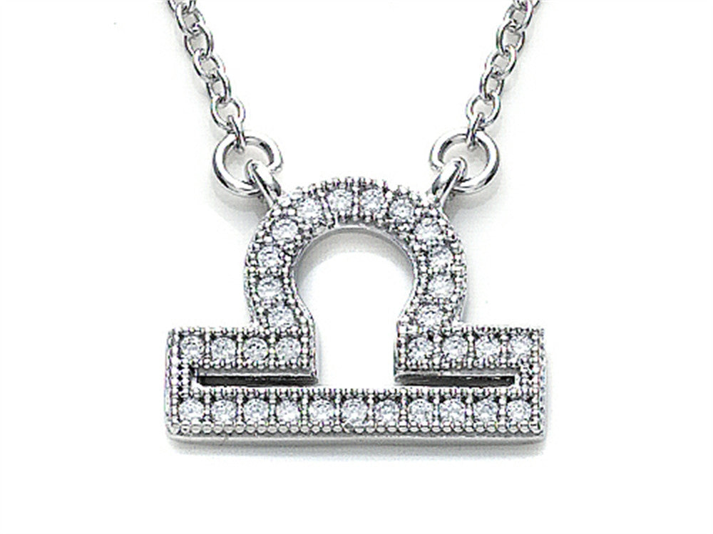 Zoe R Sterling Silver Micro Pave Hand Set Cubic Zirconia (CZ) Libra Zodiac Pendant Necklace On 18 Inch Adjustable Chain