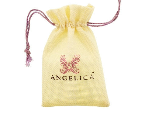 Angelica Collection Brass With White Heart Charm With White CZ On Whit E Bangle