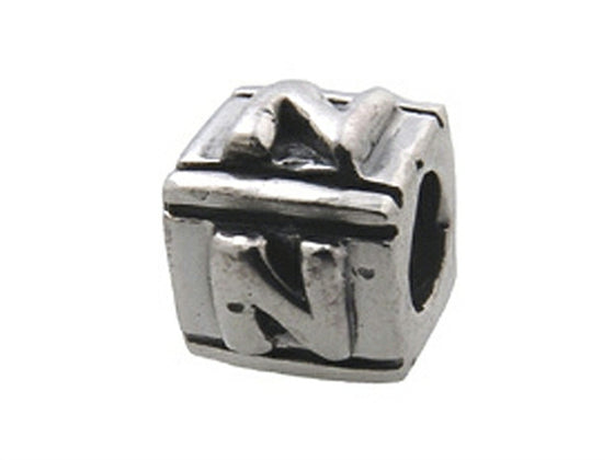 Zable Sterling Silver Block N-Letter Bead / Charm