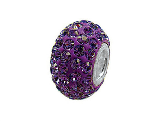 Zable Pave Swarovski Crystal Bead February Bead / Charm
