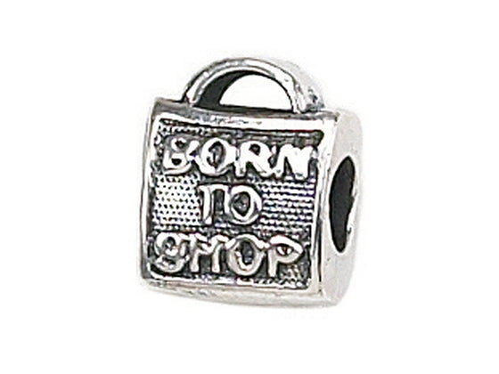 "Zable Sterling Silver ""Born To Shop"" Pandora Compatible Bead / Charm"