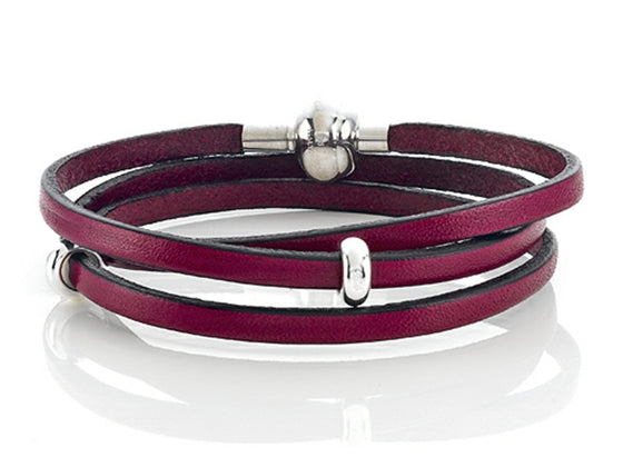 Zable 22 inches Sterling Silver Pink Leather Wrap Bracelet with Magnetic Clasp and Smart Pandora Compatible Bead / Char