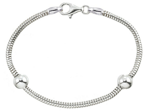 Zable 7 inch Sterling Silver Snake Bracelet with Smart Pandora Compatible Bead / Charm