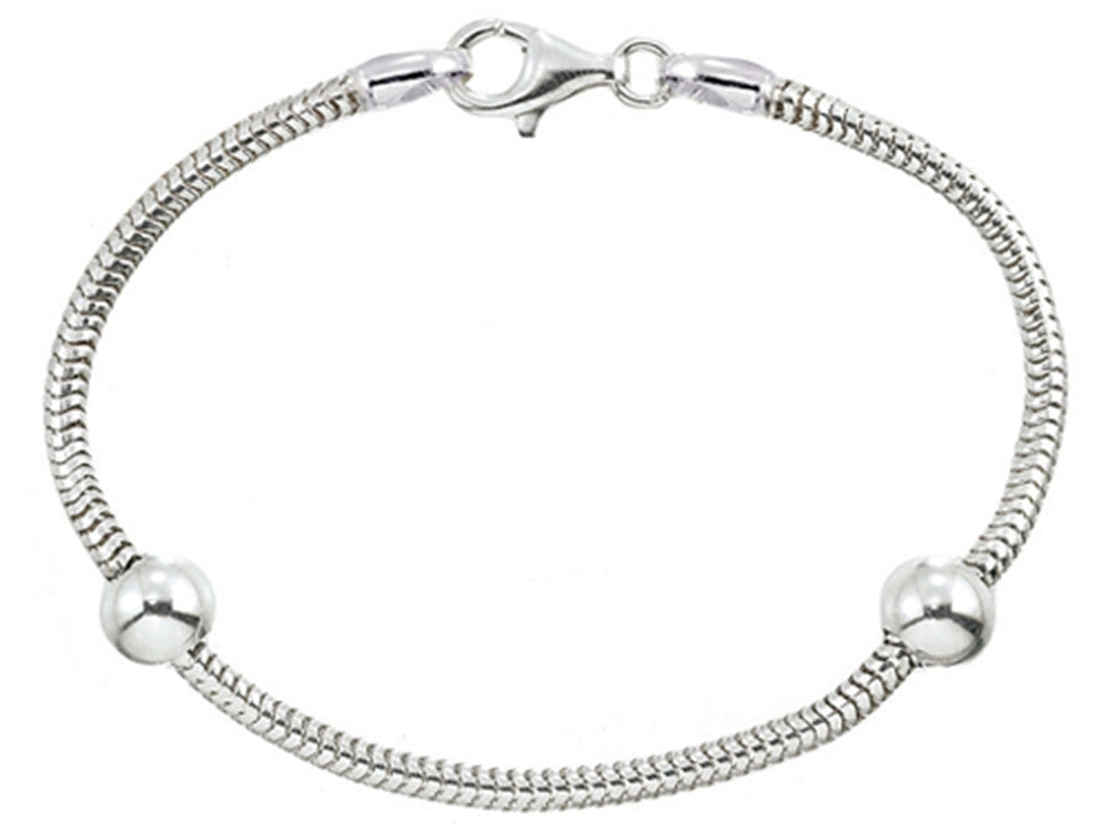 Zable 8 inches Sterling Silver Snake Bracelet with Smart Bead / Charm