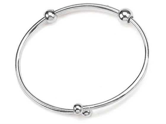 Zable 7.5 inches Sterling Silver Bangle with Smart Pandora Compatible Beads