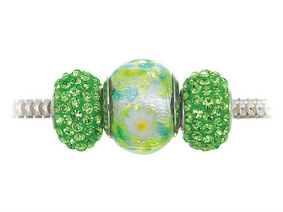 Zable Sterling Silver Green and White Flowers Trio Bead Set (Bracelet not included)