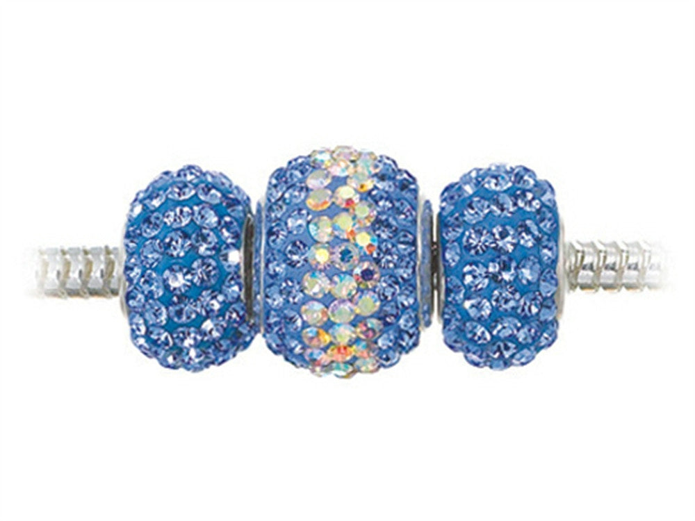 Zable Sterling Silver Blue Crystals Trio Bead Set (Bracelet not included)