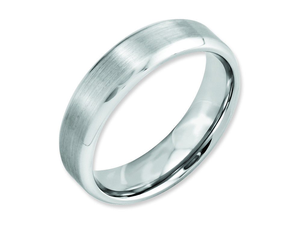 Chisel Cobalt Beveled Edge Satin And Polished 6mm Wedding Band