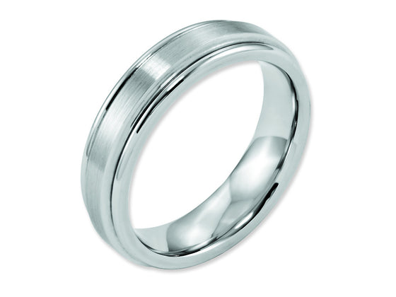 Chisel Cobalt Satin And Polished Ridged Edge 6mm Weeding Band
