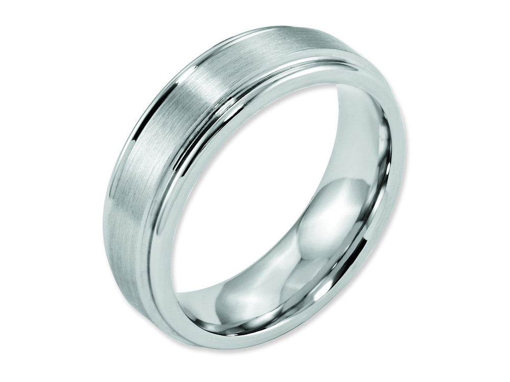 Chisel Cobalt Satin And Polished Ridged Edge 7mm Weeding Band