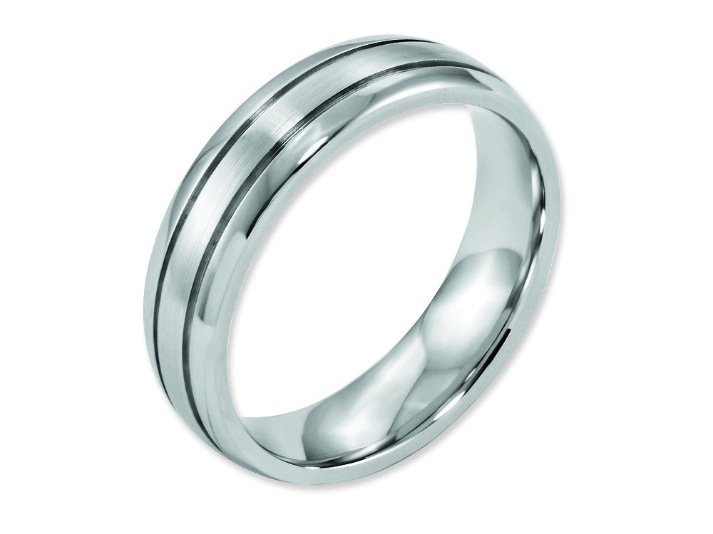 Chisel Cobalt Polished And Satin Grooved 6mm Weeding Band