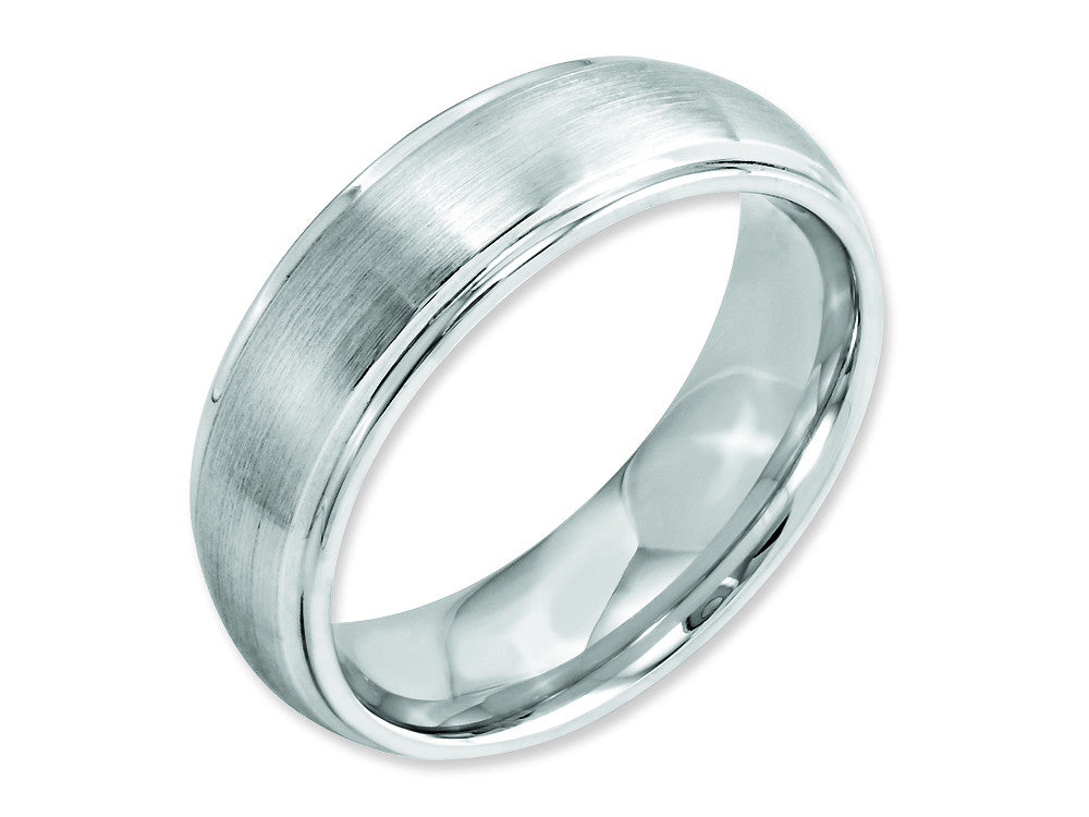 Chisel Cobalt Satin And Polished 7mm Ridged Edge Weeding Band