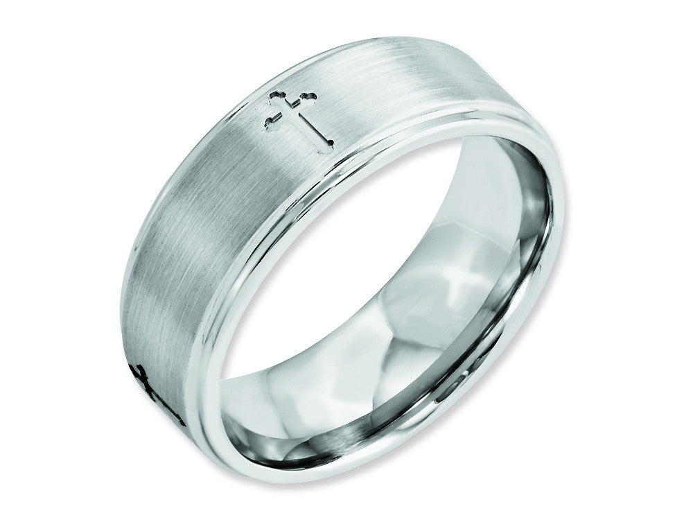 Chisel Cobalt Satin And Polished Ridged Edge 8mm Weeding Band