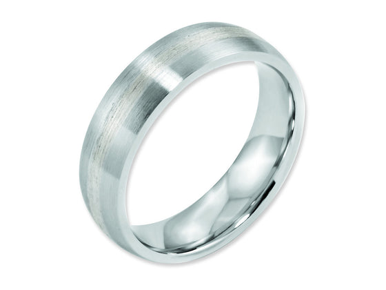 Chisel Cobalt Sterling Silver Inlay Satin 6mm Weeding Band