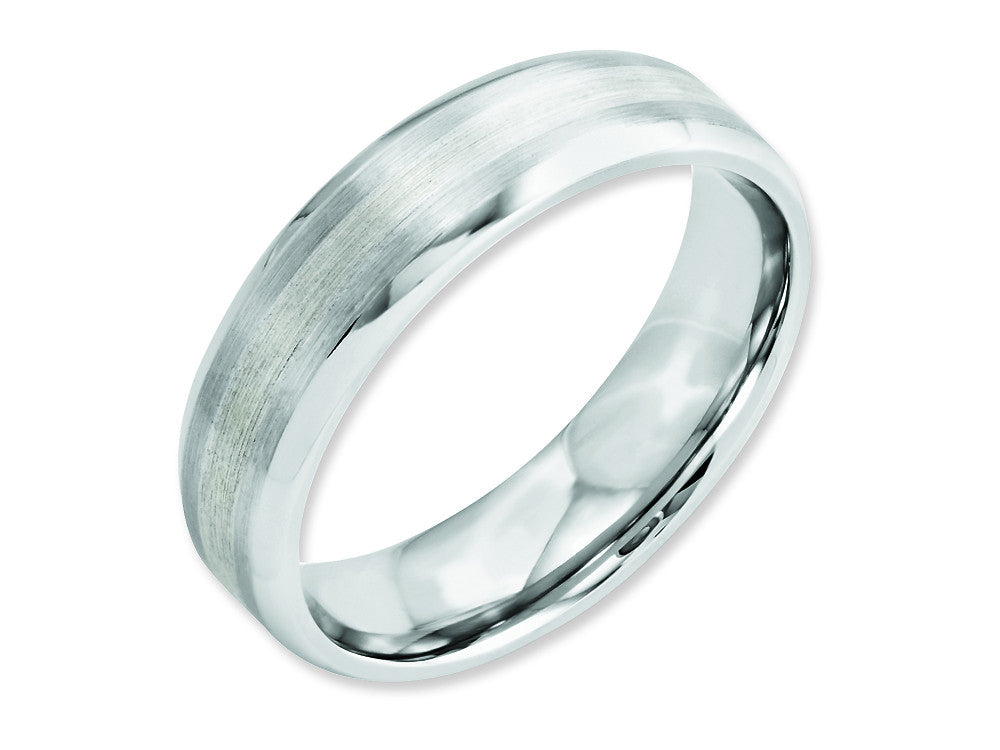 Chisel Cobalt Sterling Silver Inlay Satin/polished 6mm Beveled Edge Weeding Band