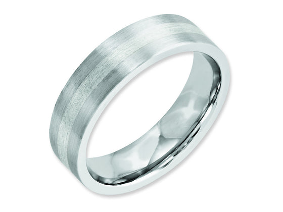 Chisel Cobalt Sterling Silver Inlay Satin 6mm Flat Weeding Band