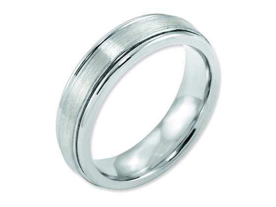 Chisel Cobalt Sterling Silver Inlay Satin And Polished 6mm Weeding Band