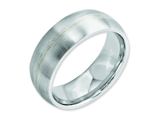 Chisel Cobalt Sterling Silver Inlay Satin 8mm Weeding Band