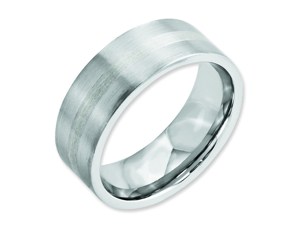 Chisel Cobalt Sterling Silver Inlay Satin 8mm Flat Weeding Band
