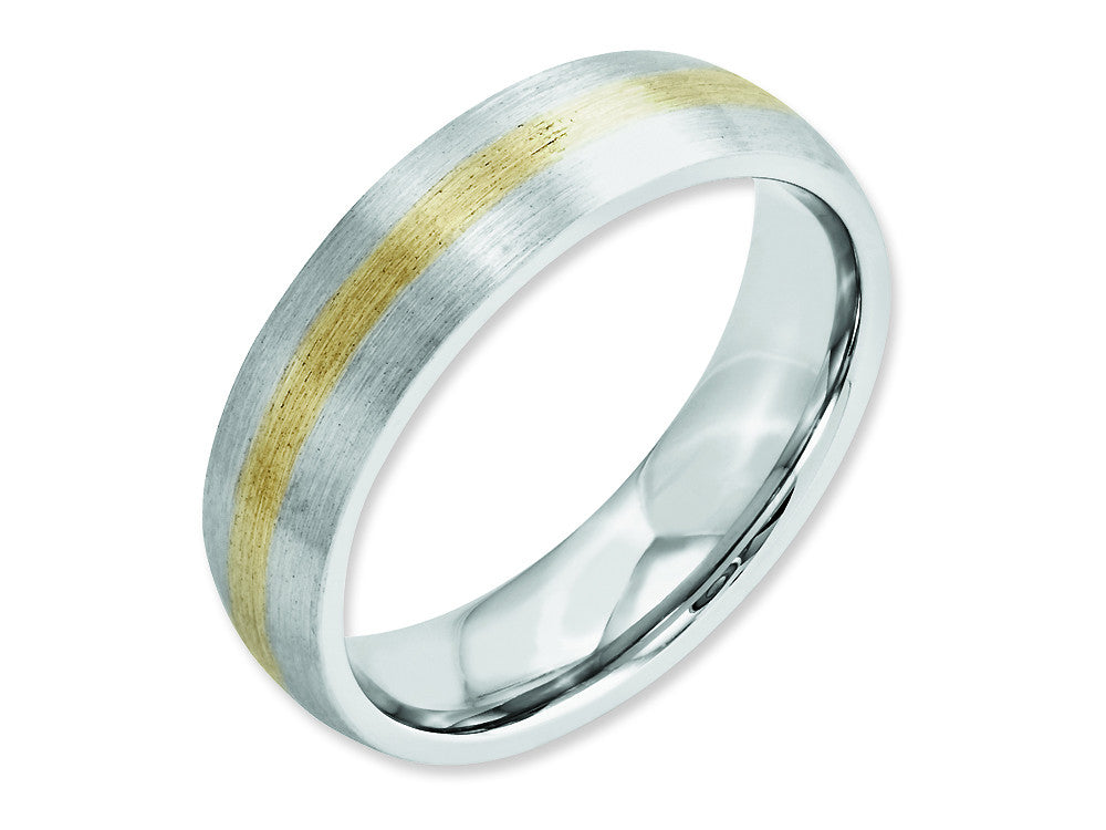 Chisel Cobalt 14k Gold Inlay Satin 6mm Weeding Band