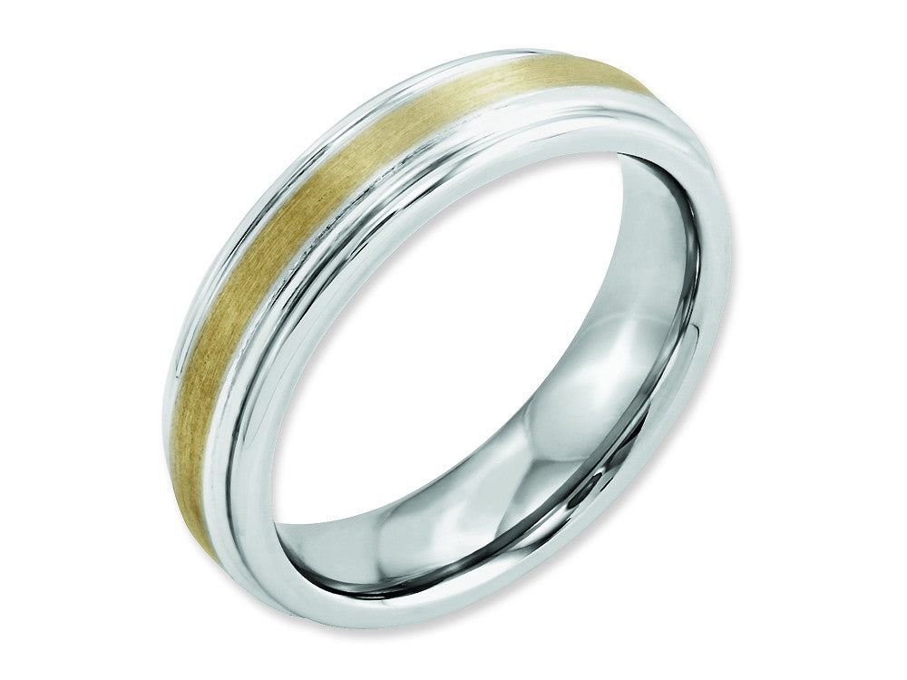 Chisel Cobalt 14k Gold Inlay Satin And Polished 6mm Weeding Band