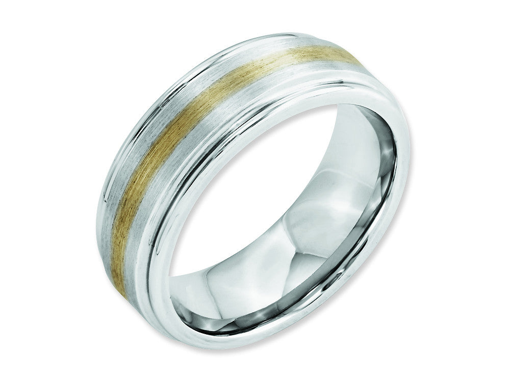Chisel Cobalt 14k Gold Inlay Satin And Polished 8mm Weeding Band