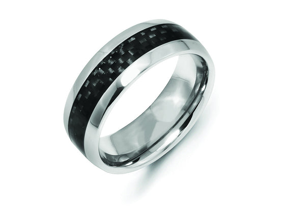 Chisel Cobalt Black Carbon Fiber Inlay 8mm Polished Weeding Band