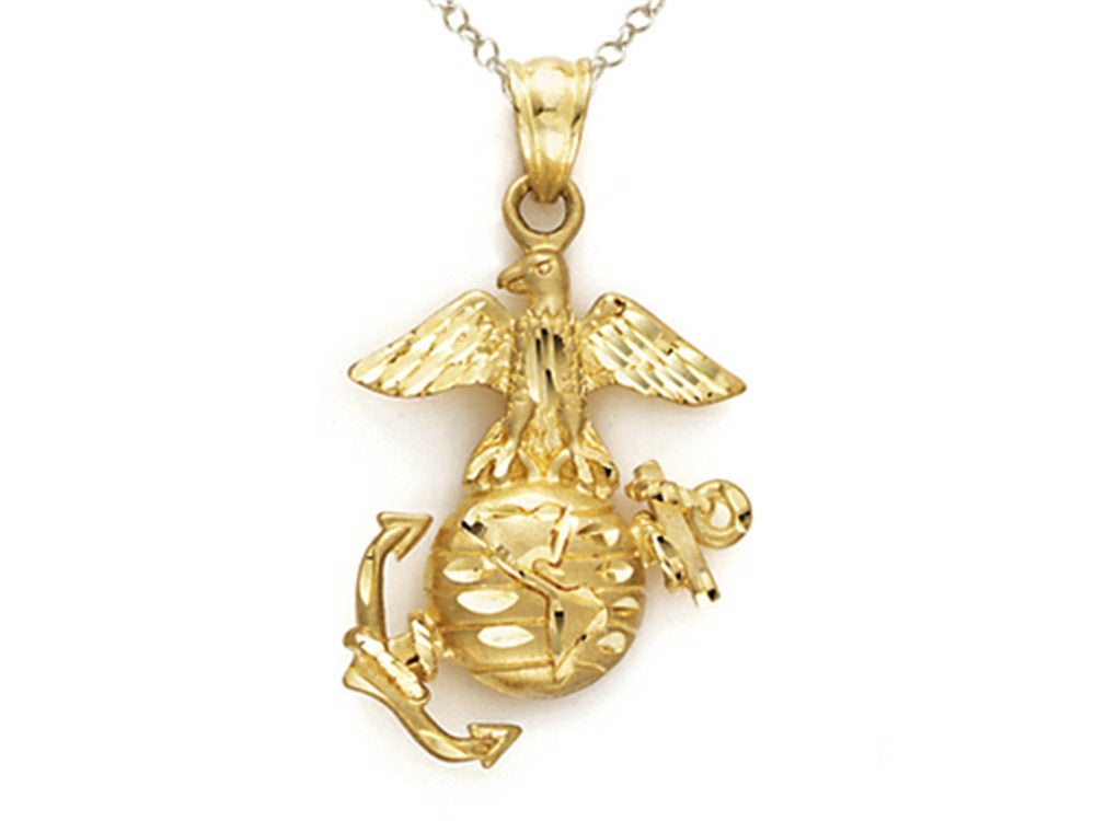 14kt Yellow Gold US Marines Emblem Pendant Necklace - Chain Included