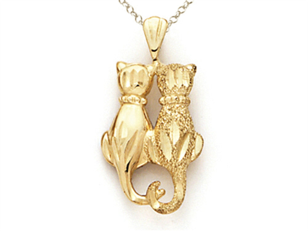 14k Yellow Gold 2 Cats Pendant Necklace - Chain Included