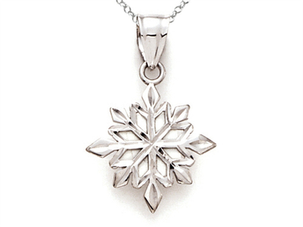 14kt White Gold Snowflake Pendant Necklace - Chain Included