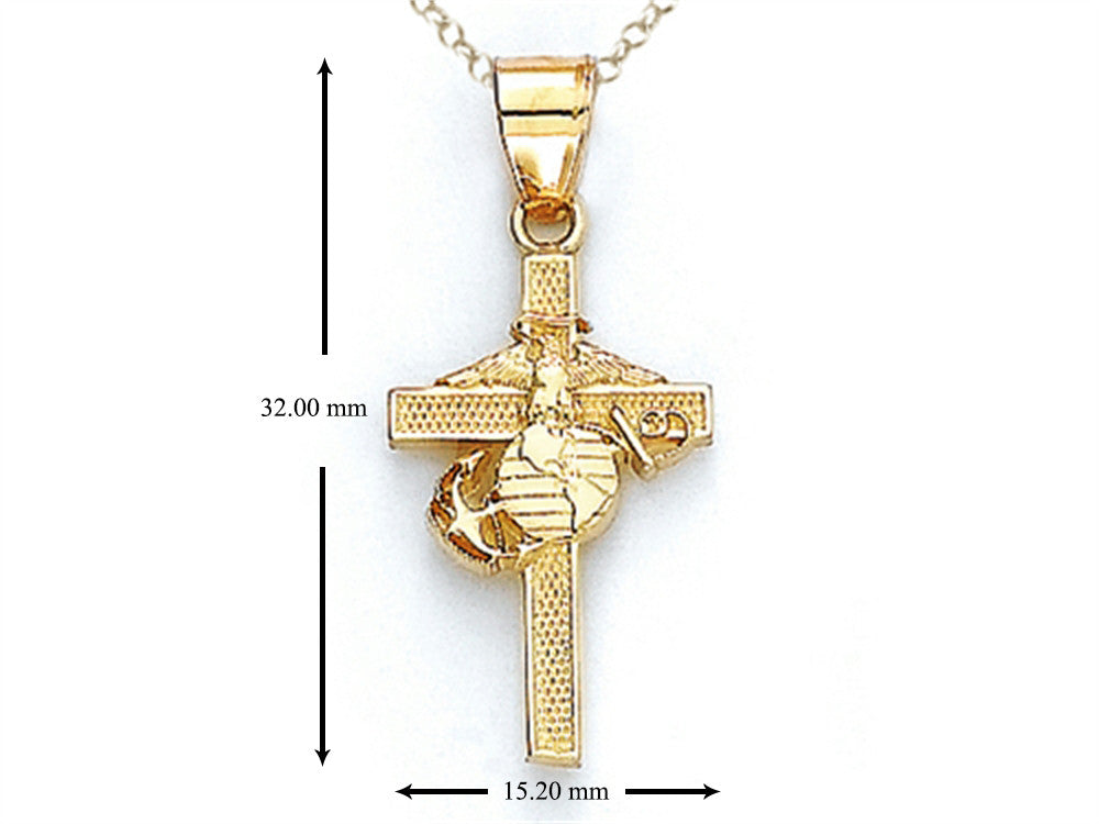 14kt Yellow Gold US Marine Corp Cross Pendant Necklace - Chain Included