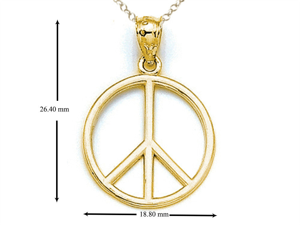 Finejewelers 14k Yellow Gold Peace Sign Pendant Necklace - Chain Included