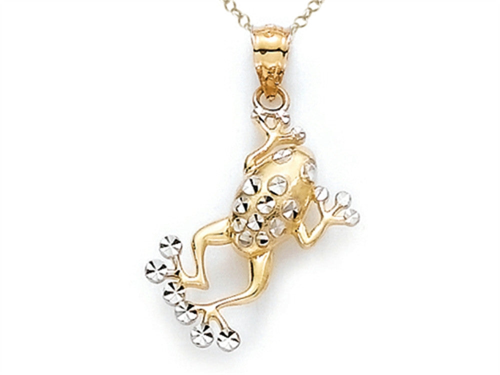 14k Two Tone Frog Pendant Necklace - Chain Included