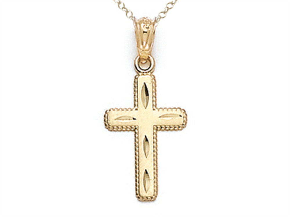 14kt Yellow Gold Small Bright Cut Beaded Cross Pendant Necklace - Chain Included