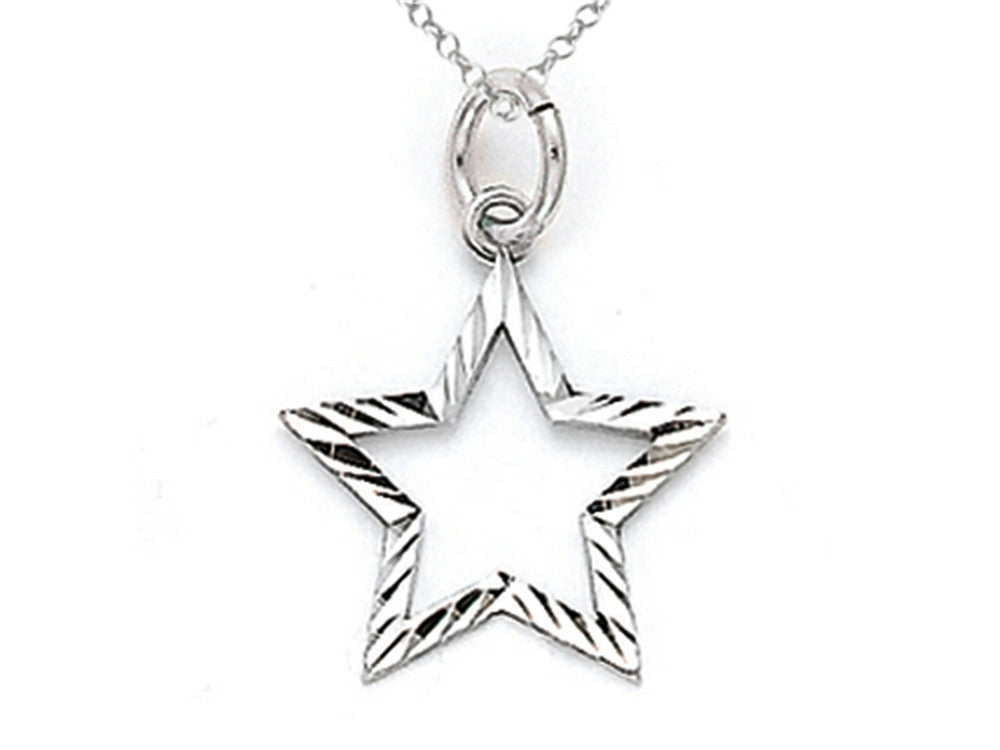 Finejewelers 14k White Gold Small Bright Cut Star Charm Pendant Necklace - Chain Included