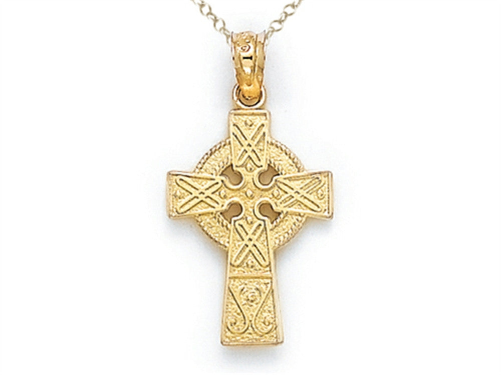Finejewelers 14k Yellow Gold Medium Celtic Cross Pendant Necklace Chain Included