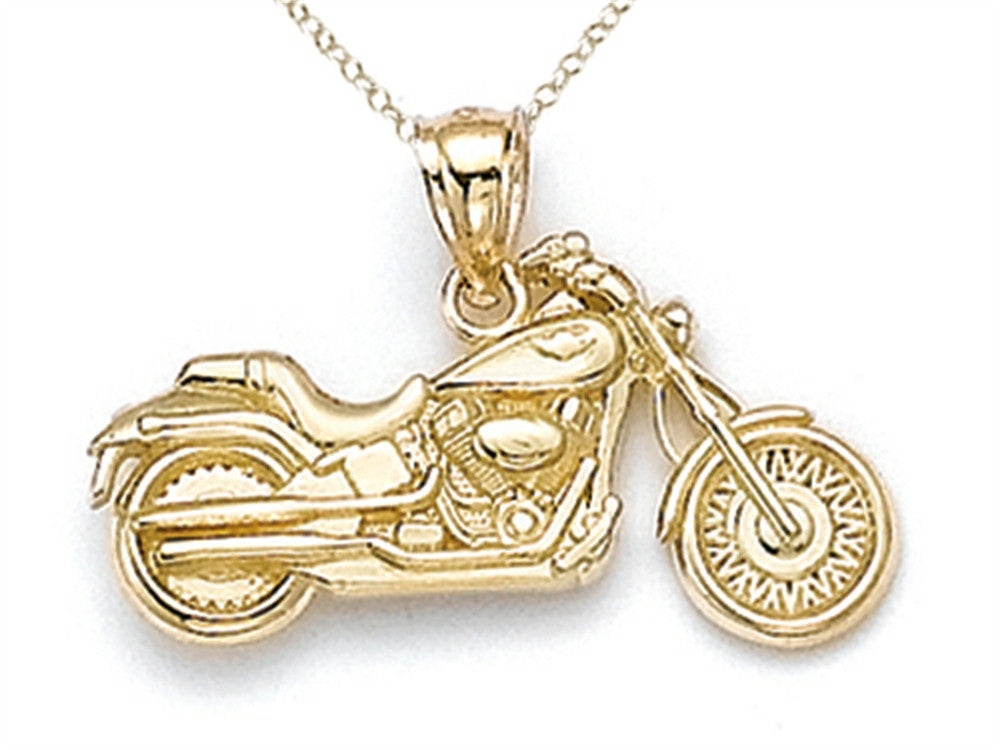 Finejewelers 14k Yellow Gold Small Motorcycle Pendant Necklace Chain Included