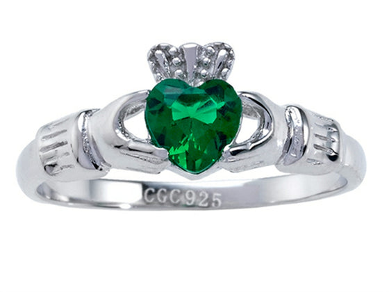 925 Sterling Silver Claddagh Ring with Simulated Heart Shape Emerald