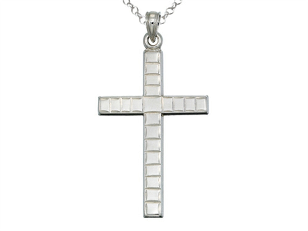 Finejewelers 925 Sterling Silver Rhodium Large Bright Cut Squares Cross Pendant Necklace Chain Included