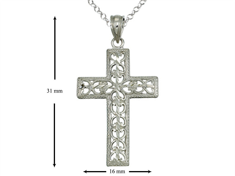 Finejewelers 925 Sterling Silver Rhodium Medium Bright Cut Cross Pendant Necklace Chain Included