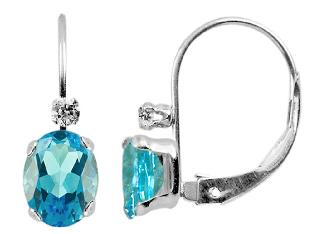 6x4mm Swiss Blue Topaz and White Topaz Leverback Earrings