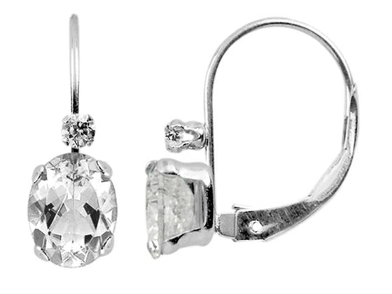 Finejewelers 6x4mm White Topaz Leverback Earrings