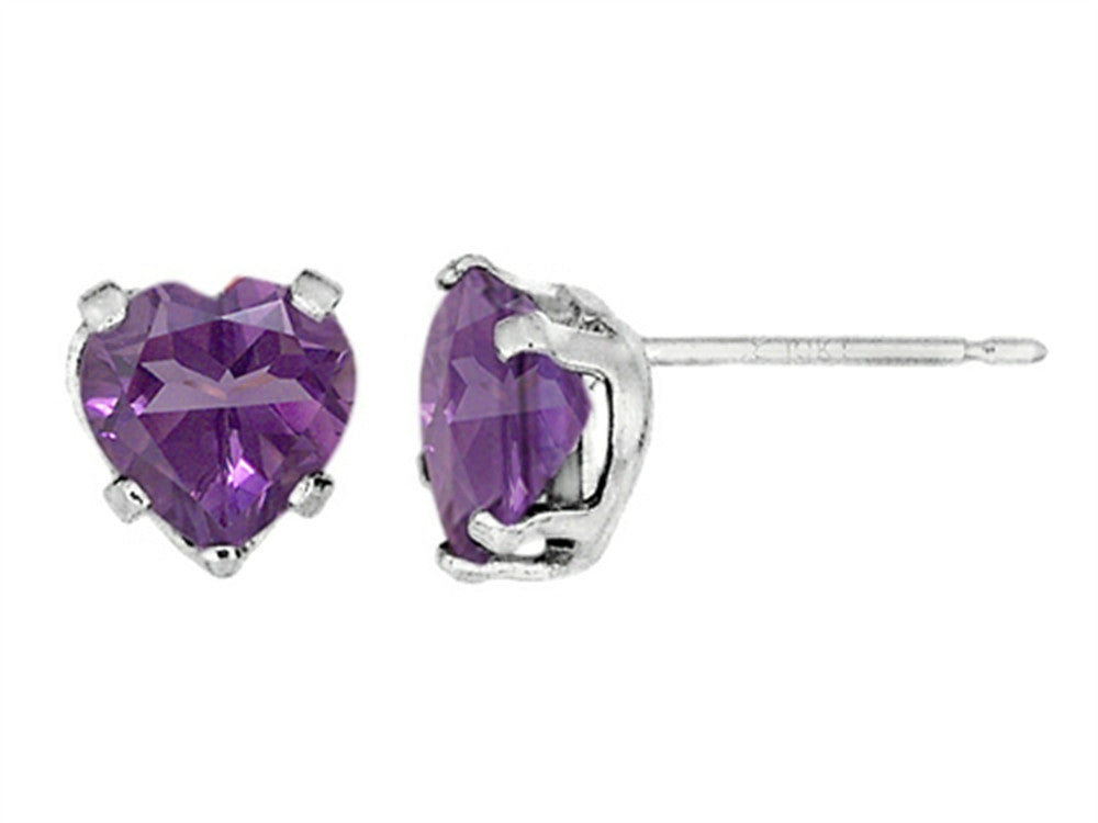 6x6mm Heart Shaped Amethyst Post-With-Friction-Back Earrings
