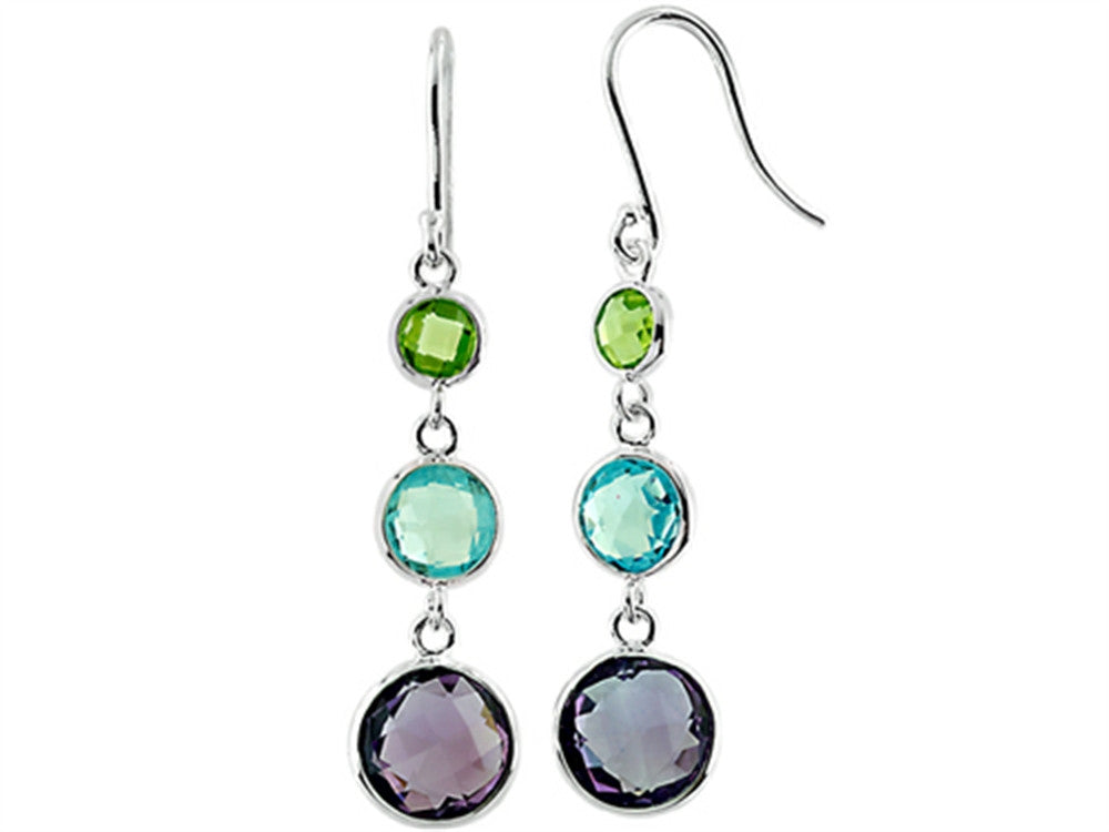 925 Sterling Silver Peridot Sky Blue Topaz and Amethyst Wire Wrapped Earrings